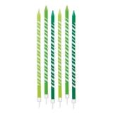 Lumanare Creion Dungi Verzi 15 cm cu suport 6 buc/Set Big Party