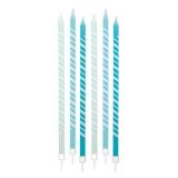 Lumanare Creion Dungi Acqua Marin 15 cm cu suport 6 buc/Set Big Party