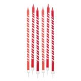 Lumanare Creion Dungi Rosii 15 cm cu suport 6 buc/Set Big Party