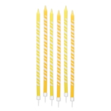 Lumanare Creion Dungi Galbene 15 cm cu suport 6 buc/Set Big Party