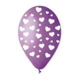 Baloane  All Around Violet cu Inimi Albe 100 buc/Set  Big Party