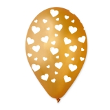 Baloane  All Around Aurii cu Inimi Albe 100 buc/Set  Big Party