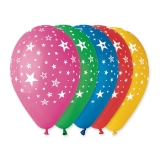 Baloane All Around Stele albe  Diverse Culori 100 buc/Set  Big Party