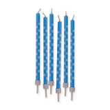 Lumanari Creion Pois Albastru 10 cm cu suport 6 buc/Set Big Party