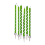 Lumanari Creion Pois Verde 10 cm cu suport 6 buc/Set Big Party