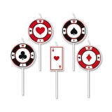 Scobitori cu Lumanare Poker 8 cm 5 buc/Set Big Party