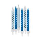 Lumanari Creion Pois Turcoaz 8 cm cu suport 6 buc/Set Big Party