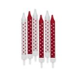 Lumanari Creion Pois Rosu 8 cm cu suport 6 buc/Set Big Party