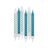 Lumanari Creion Pois Acqua Marin 8 cm cu suport 6 buc/Set Big Party