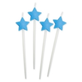 Lumanare decorativa Stele Albastre 13 cm 4 buc/set Big Party