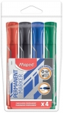 Marker permanent Peps Jumbo, varf rotund, 2 mm, 4 culori/set Maped