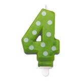 Lumanare Pois Verde Nr. 4 Big Party