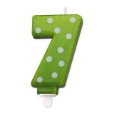 Lumanare Pois Verde Nr. 7 Big Party