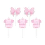 Lumanare decorativa Baby Girl roz 8 cm 5 buc/set Big Party