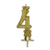Lumanare Clasica 8.5 cm Auriu Glitter Nr. 4 Big Party