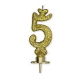 Lumanare Clasica 8.5 cm Auriu Glitter Nr. 5 Big Party