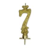 Lumanare Clasica 8.5 cm Auriu Glitter Nr. 7 Big Party