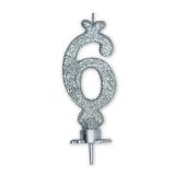 Lumanare Clasica 8.5 cm Argintiu Glitter Nr. 6 Big Party