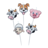 Scobitori cu Lumanare in forma de divrerse animale Ferma 8 cm 5 buc/Set Big Party