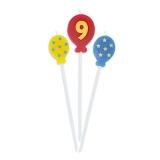 Lumanare decorativa Baloane 16 cm 3 buc/set nr. 9 Big Party