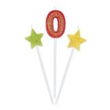 Lumanare decorativa Sweety Stars 16 cm Glitterate 3 buc/set nr. 0 Big Party