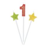 Lumanare decorativa Sweety Stars 16 cm Glitterate 3 buc/set nr. 1 Big Party