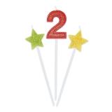 Lumanare decorativa Sweety Stars 16 cm Glitterate 3 buc/set nr. 2 Big Party
