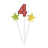 Lumanare decorativa Sweety Stars 16 cm Glitterate 3 buc/set nr. 4 Big Party