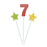 Lumanare decorativa Sweety Stars 16 cm Glitterate 3 buc/set nr. 7 Big Party