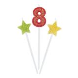 Lumanare decorativa Sweety Stars 16 cm Glitterate 3 buc/set nr. 8 Big Party