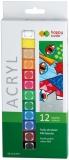 Acuarele acrilice, set 12 culori x 12 ml, Happy Color