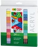 Acuarele acrilice, set 24 culori x 12 ml, Happy Color