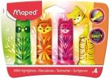 Textmarker Pocket Mini Friends 4 culori/set, Fluo Peps Maped