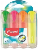 Textmarker Fluo Peps Ultra Soft transparent 4 culori/blister Maped