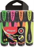 Textmarker Ultra Soft 4 culori/set, Fluo Peps Maped