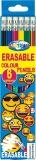 Creioane colorate Emojidex cu guma de sters 6 culori/set Centrum