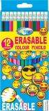 Creioane colorate Emojidex cu guma de sters 12 culori/set Centrum