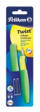 Stilou Twist verge neon 2 rezerve albastre Pelikan