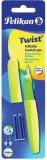Stilou Twist galben neon cu 2 rezerve albastre Pelikan