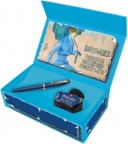 Set Stilou Classic M120 Iconic Blue, penita F + cerneala 4001 Royal Blue 30 ml Pelikan