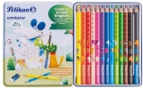 Creioane color combino, set 12 culori + 1 creion grafit invata sa scrii, cutie de metal Pelikan