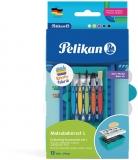 Set accesorii pictura Kreativ, cu 5 pensule griffix si 5 tuburi acuarela, Pelikan