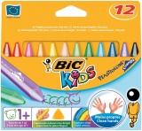 Creioane cerate 12 culori Plastidecor Triunghiulare Bic
