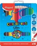 Creioane colorate Color Peps Star cutie metal 18 culori/set Maped