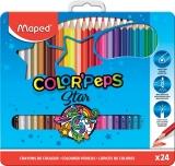 Creioane colorate Color Peps Star cutie metal 24 culori/set Maped
