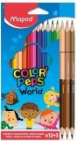 Creioane colorate Color Peps World 12 + 3 culori/set Maped