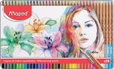 Creioane colorate Color Peps Aqua Artist cutie metal 36 culori/set + pensula Maped
