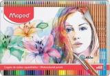 Creioane colorate Color Peps Aqua Artist cutie metal 48 culori/set + pensula Maped