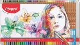 Creioane colorate acuarela, in cutie metal, Color Peps Aqua Artist, 72 culori/set, Maped