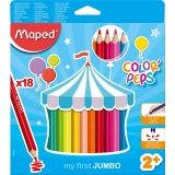 Creioane colorate Color Peps My First Jumbo FSC, 18 culori/set, Maped
